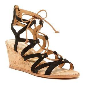 ❤️Dolce Vita Black Leather Wedge Gladiator Sandals